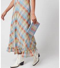 ganni women's check print leather pouch - multicolour