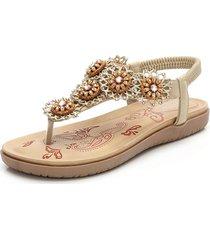 sandali da spiaggia casual a fascia con elastico in fiore
