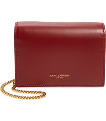 women's saint laurent leather card case on a chain - red