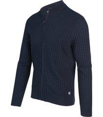 blue industry vest rits cardigan donker