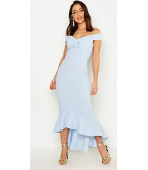 fishtail dip hem maxi bridesmaid dress, pastel blue