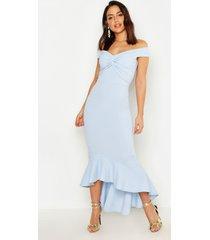 fishtail dip hem maxi bridesmaid dress, pastel blue