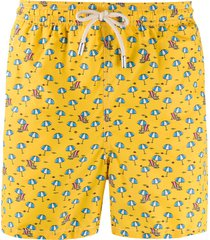 mc2 saint barth summer holidays-print swim shorts - yellow