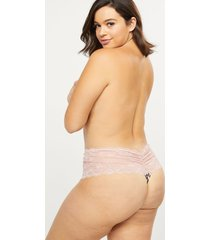 lane bryant women's lace wide-side thong panty 26/28 leopard sugar