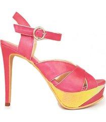 sandalia de cuero rosa micheluzzi