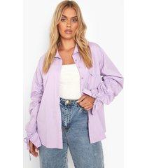 plus geplooide mouwen oversized shirt, lilac