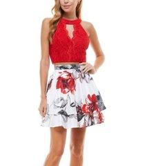 city studios juniors' halter top & floral skirt