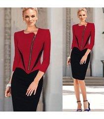 vestido de trabajo elegante para mujer ropa de trabajo de oficina ol vestido a media pierna lápiz rojo