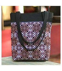 cotton handbag, 'hypnotic poppy' (thailand)