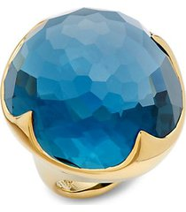 18k yellow gold & london blue topaz ring