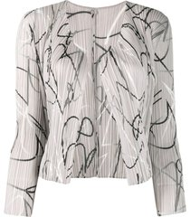 pleats please issey miyake pleated abstract print cardigan - brown