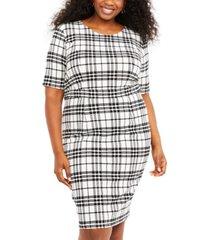 motherhood maternity nursing plus size plaid dress
