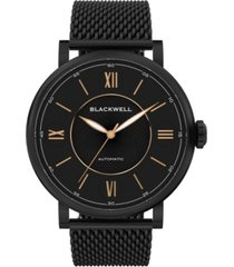 blackwell black dial with black plated steel and black plated steel mesh watch 44 mm