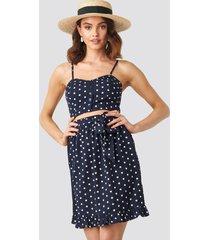 na-kd boho self-tie dot skirt - blue