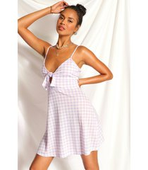 gingham knot front flippy dress, lilac
