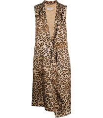 alberto biani leopard print sleeveless coat - neutrals