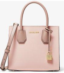 mk borsa a tracolla mercer media a fisarmonica in pelle saffiano color block - rosa tenue/crema chiaro/marrone chiaro (rosa) - michael kors