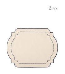 kit de jogo americano com bordado 02 peças - off white