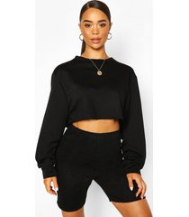 crew neck raw hem cropped sweat top, black