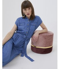 motivi tuta in denim chambray donna blu