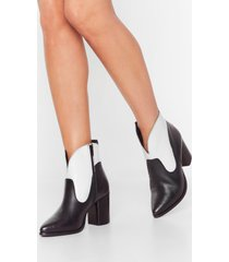 womens curve the haters two-tone leather boots - black