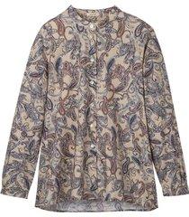 bio-katoenen blouse met paisley-print en staande kraag, camel-bedrukt 38