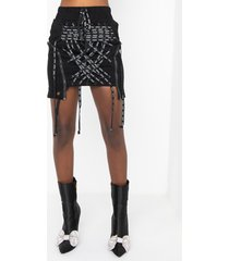 akira all tied up lace front stretch mini skirt