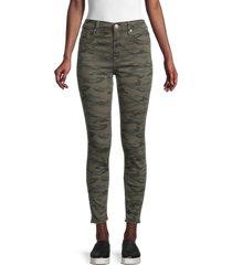 hudson women's blair high-rise camo super skinny jeans - green - size 27 (4)