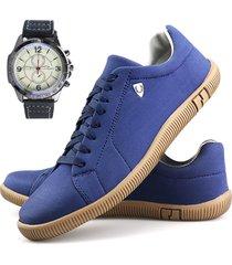 sapatenis neway sw   azul + relã³gio - azul - masculino - dafiti