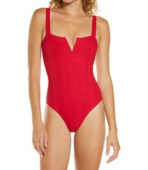 women's l space cha cha one-piece swimsuit, size 4 - red