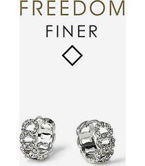 *freedom finer pave clicker earrings - clear