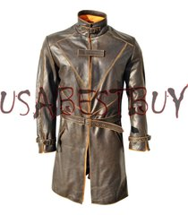 custom made watch dogs aiden pearce brown trench coat in cow hide leather coat