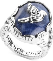 american west sodalite bird statement ring in sterling silver