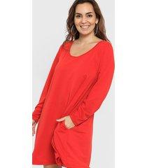 vestido rojo minari bolsillos