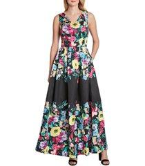 tahari asl floral-print jacquard gown
