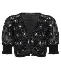 top tela aplicação de bordados bianza - preto