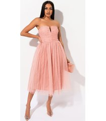 akira rare london surprise me pearl accent tulle midi dress