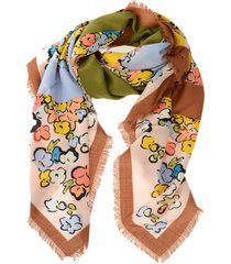tory burch color block painted floral oversized scarf