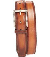 men's big & tall magnanni carbon leather belt, size 46 - cognac
