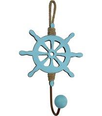 cabideiro de madeira kasa ideia timão azul 25x18cm
