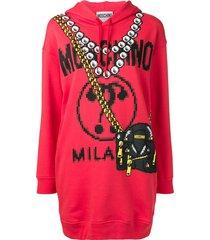 moschino printed logo longline hoodie - red
