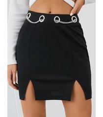 minifalda yoins diseño de cadena negra