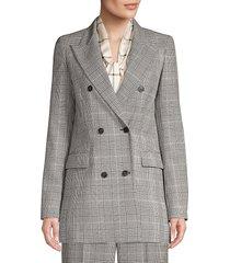 lafayette 148 new york women's saxon houndstooth wool blazer - black multi - size 4