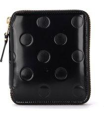 comme des garçons wallet black shiny printed leather wallet