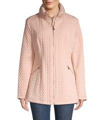 karl lagerfeld paris women's chevron quilted puff down jacket - blush - size m