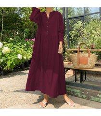 zanzea mujer de manga larga de algodón de lino kaftan la playa para señoras otoño del vestido maxi plus -rojo