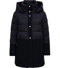 herno black nylon and wool down jacket