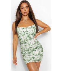tie dye mini jurk met col, groen