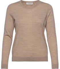 merino pullover ls stickad tröja beige rosemunde