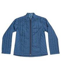 casaco anuska amantado azul   forro poá